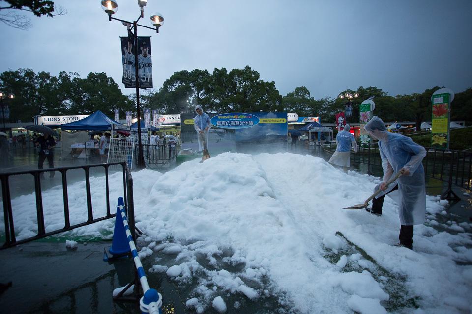 真夏の雪遊びもさすがに今日は開店休業状態