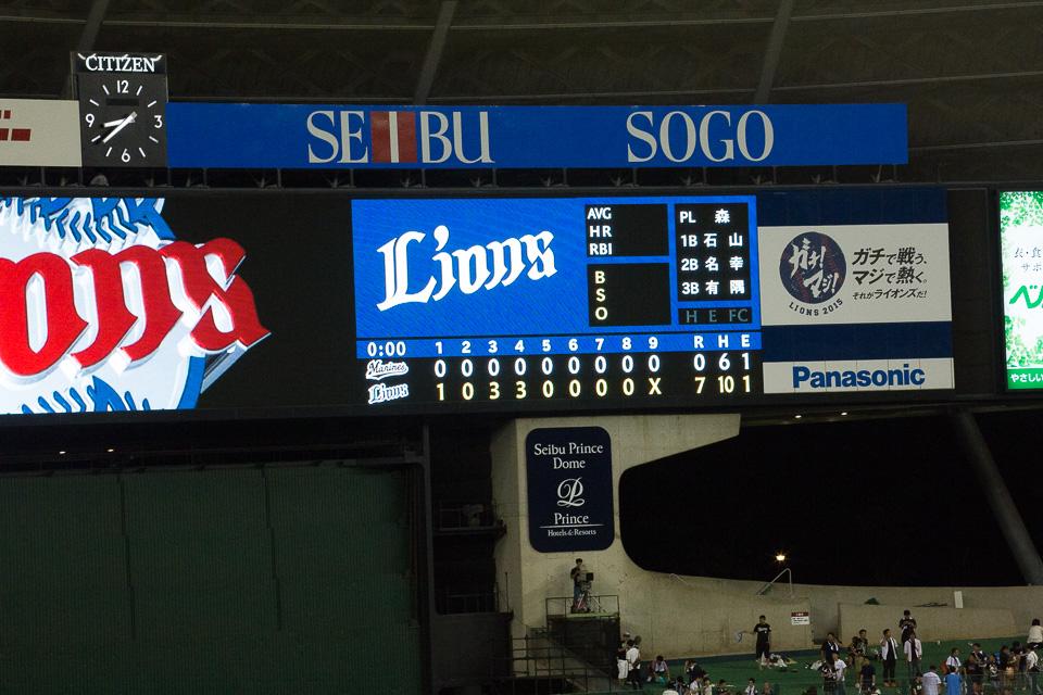 127球6安打5奪三振2四球。ライオンズは松坂以来の高卒ルーキー1年目の完封劇