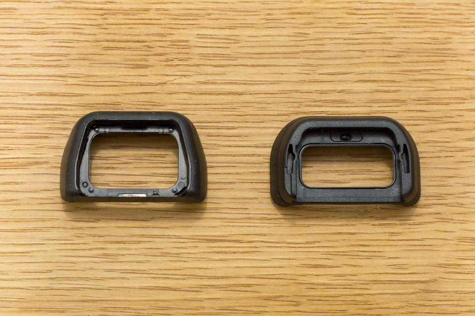 アイピースカップの形状はだいぶ変わっている(左・α6000、右α6500)