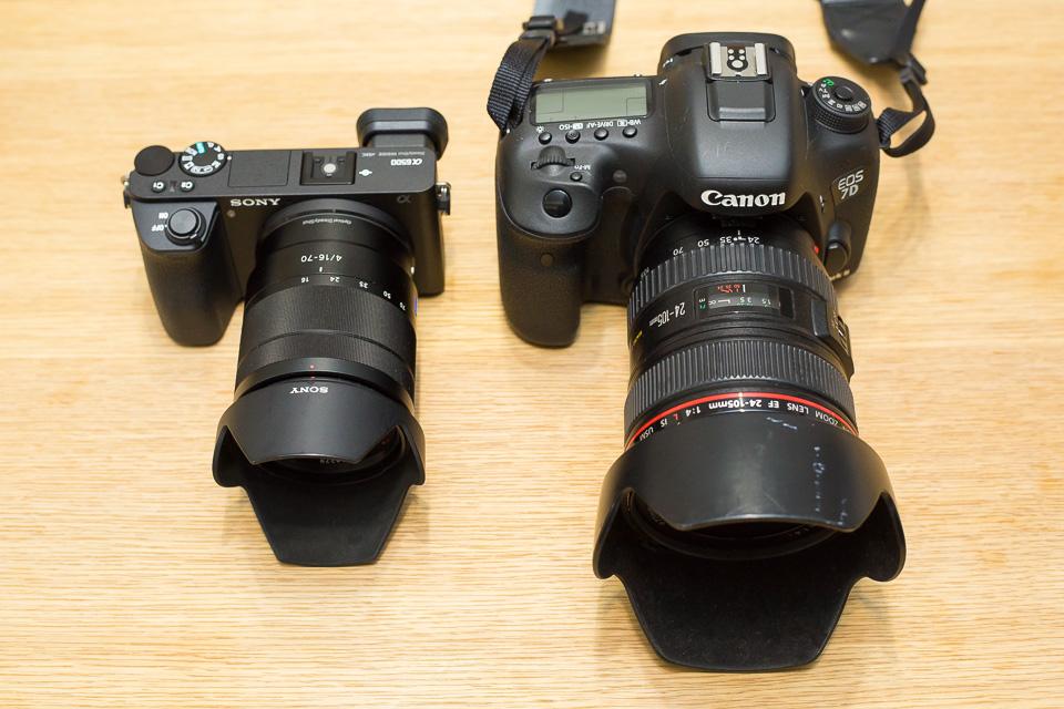 EOS 7D Mark IIと並べてみた。同じAPS-Cフラッグシップでこの違い